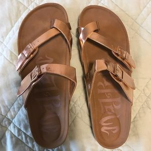 Mad Love Rose Gold Sandals- Size 9
